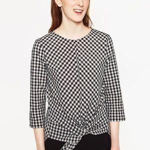 Zara Basic Front tie Gingham Top